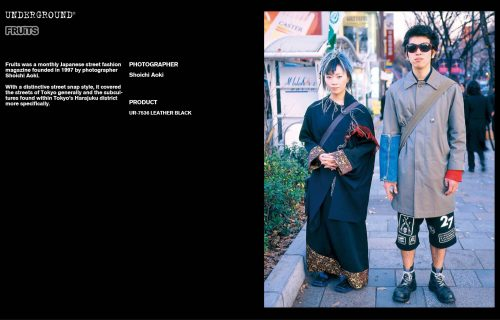 Underground Press Features Gallery - Fruits Photographer: Shoichi Aoki Product: UR-7536 LEATHER BLACK