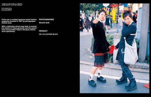 Underground Press Features Gallery - Fruits Photographer: Shoichi Aoki Product: UR-7120 LEATHER BLACK