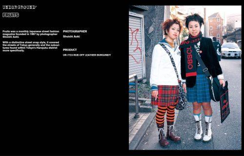 Underground Press Features Gallery - Fruits Photographer: Shoichi Aoki Product: UR-7723 RUB OFF LEATHER BURGUNDY
