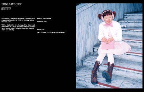 Underground Press Features Gallery - Fruits Photographer: Shoichi Aoki Product: UR-7723 LEATHER BURGUNDY
