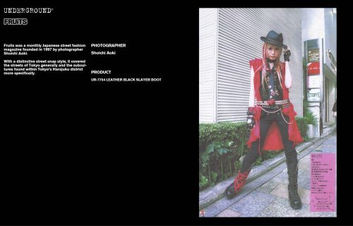 Underground Press Features Gallery - Fruits Photographer: Shoichi Aoki Product: UR-7754 LEATHER BLACK SLAYER BOOT