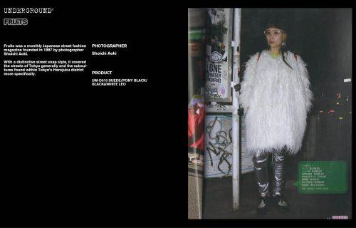 Underground Press Features Gallery - Fruits Photographer: Shoichi Aoki Product: UM-D010 SUEDE/PONY BLACK/BLACK&WHITE LEO