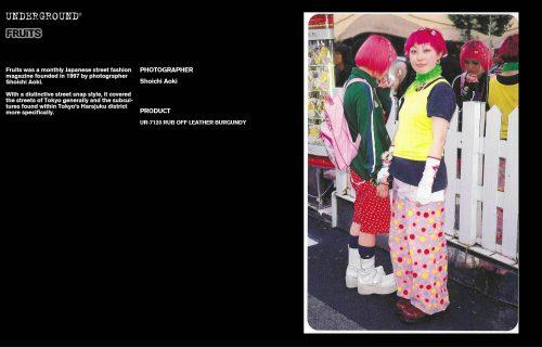 Underground Press Features Gallery - Fruits Photographer: Shoichi Aoki Product: UR-7120 RUB OFF LEATHER BURGUNDY