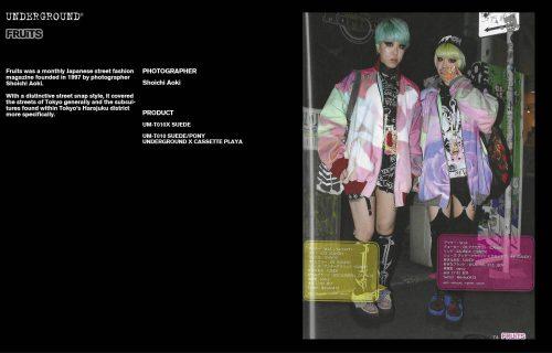 Underground Press Features Gallery - Fruits Photographer: Shoichi Aoki Product: UM-T010X SUEDE BLACK UM-T010 SUEDE/PONY UNDERGROUND X CASSETTE PLAYA