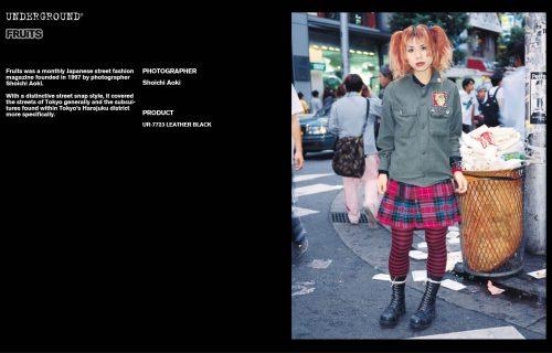 Underground Press Features Gallery - Fruits Photographer: Shoichi Aoki Product: UR-7723 RUB OFF LEATHER BLACK