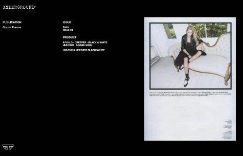 Underground Press Features Gallery - Grazia Photographer/Stylist: Product: APOLLO – CREEPER – BLACK & WHITE LEATHER