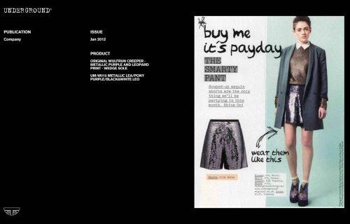 Press Features Gallery -Company UM-W010 METALLIC LEA/PONY PURPLE/BLACK&WHITE LEO