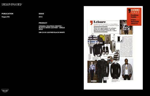 Press Features Gallery - Vogue Italia UM-C010X LEATHER BLACK/WHITE