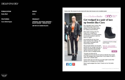 Press Features Gallery - Daily Mail Cara Delvingne UM-W010X SUEDE BLACK