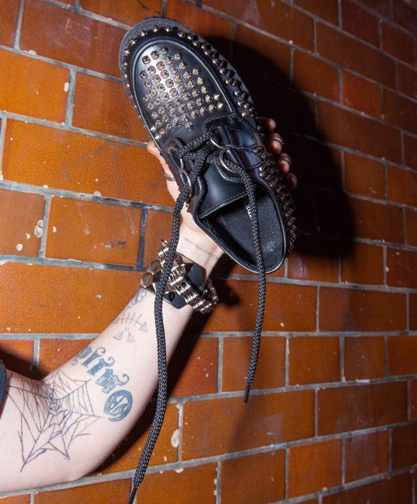 Studsmallong Stud spike black leather shoes studs mallong