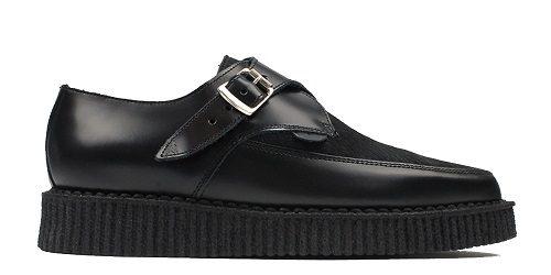 Apollo Black Leather Creeper Shoe