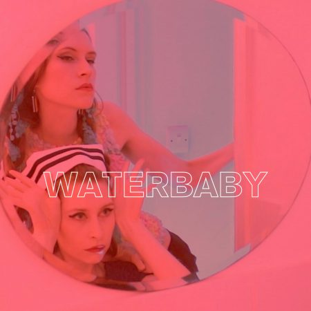 Band photo of Waterbaby with graphic